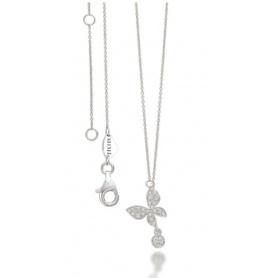 Mimì Halskette mit weißem Gold und Diamant Schmetterling - P656B8B