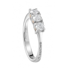 Trilogy Ring Salvini collection Blossom in white and pink gold with brilliant