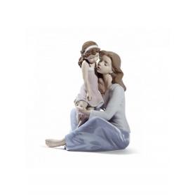 Skulptur Lladrò Mommys kleines Mädchen in Porzellan - 01008623