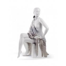 Skulptur Lladrò Nudo mit Satin Porzellan Platte - 01008673