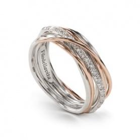 Siebenstrang Silber, Gold- und Diamant-Gewinde Ring - AN7ARBT
