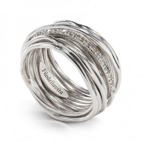 Anello Filodellavita a tredici fili in argento e diamanti - AN13ABT