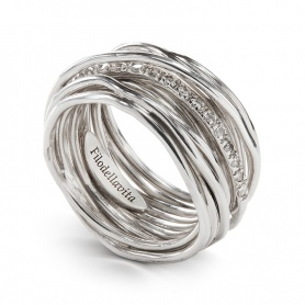 Thirteen silver threaded diamond ring and diamond ring - AN13ABT