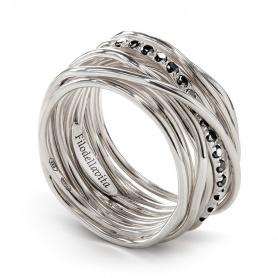 Anello Filodellavita a tredici fili in argento e diamanti neri - AN13ABN