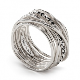 Thirteen silver filigree ring and black diamonds - AN13ABN