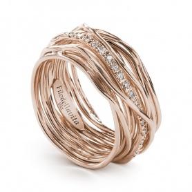 Anello Filodellavita a tredici fili in oro rosa e diamanti - AN13RBT
