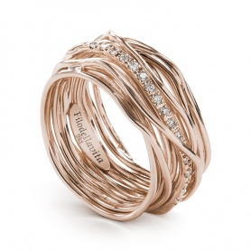 Thirteen wires in pink gold and diamonds Filodellavita ring - AN13RBT