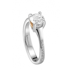 Salvini ring collection Blossom in white and pink gold with brilliant 0,40F