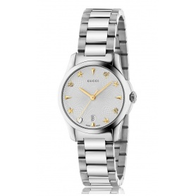 Orologio Gucci G-Timeless small Guilloche silver icone dorate YA126572
