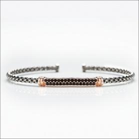 Armband Hartes Sterling Silber Gerba mit schwarzen Steinen - 3050ROSE '