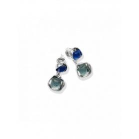 Orecchini double High line argento e quarzo idrotermale - 9882