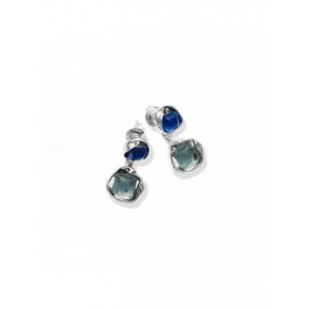 Double High Line Silver Earrings and Hydrothermal Quartz - 9882