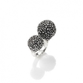 Raspini double flower ring of burnished silver dawn - 9768