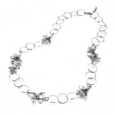 Raspini necklace Longuette Butterflies and silver rims - 9804