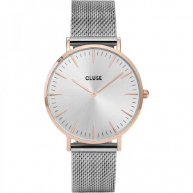 Closed woman's watch La Bohème Mesh silver pvd rosé case