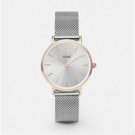 Geschlossene Frauen Minuit Satin Gold Mesh Uhr - CL30025