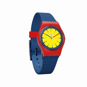 Swatch Baby Watch in Red and Yellow Blue Rubber - LR131