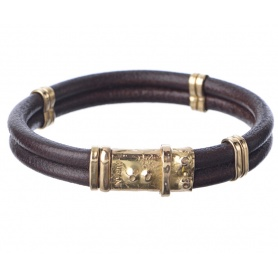 Misani jewelry bracelet with double strand of leather and gold - B114