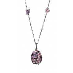 Tatiana Fabergè Tamara egg necklace in silver and lilac enamel