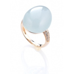 Egg ring Tatiana Fabergè Olga silver rosé and celestial stone