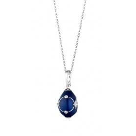 Collana uovo Tatiana Fabergè Anastasija ricamo blu 23929DBS