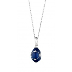 Egg Necklace Tatiana Fabergè Anastasija blue embroidery 23929DBS