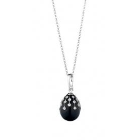 Collana uovo Tatiana Fabergè Peter Carl con smalto nero PF006BS