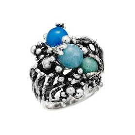 Silver ring with stones Giovanni Raspini, Oceano collection