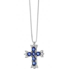 Collana croce Comete Gioielli Fantasia di Colore con Zaffiri GLB1380