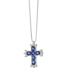 Comete Gioielli Cross necklace Fantasy of colors with Sapphires GLB1380