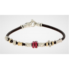 Bracelet Misani jewelry Accents in leather with gold, silver and ruby, B890