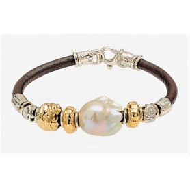 Misani Aurora jewelry bracelet with baroque pearl, gold and silver