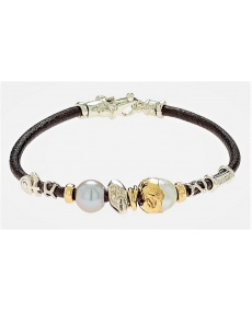 Aurora jewelry Misani bracelet in leather, pearls, gold and silver