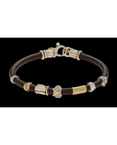 Misani jewelery men's bracelet Grand Tour in leather, gold and silver, B2023