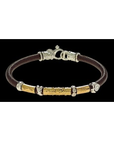 Misani jewelery men's bracelet Grand Tour in leather, gold and silver, B2056