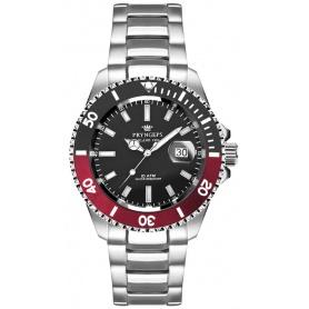 Pryngeps Mediterrane Submariner Uhr, schwarze und rote Zwinge