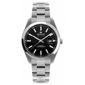 Pryngeps Uhr aus Stahl DateJust Modell, schwarzes Zifferblatt A1034