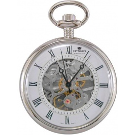 Pryngeps white skeletal pocket manual watch - T052 / 1