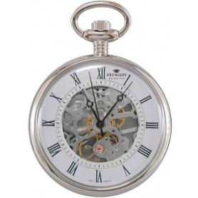 Pryngeps white skeletal pocket manual watch - T052 / 1