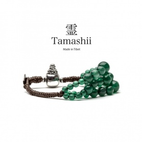 Bracciale Tamashii Dul Ba Agata Verde tre fili calabash argento
