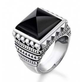 Thomas Sabo ring, Ethnic Skulls with Black Onyx- TR2158