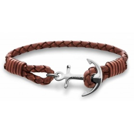 Tom Hope bracelet in cognac-colored braided leather with Ancora TM0202