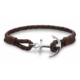 Tom Hope bracelet, Havana, brown woven leather with anchor