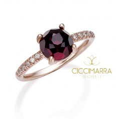 Mimì Happy ring in rose gold with garnet and diamonds