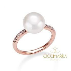 Mimi Happy ring in pink gold, Pearl and diamonds