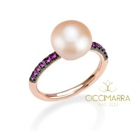 Ring rose gold Pink Pearl and Mimi Happy Sapphires