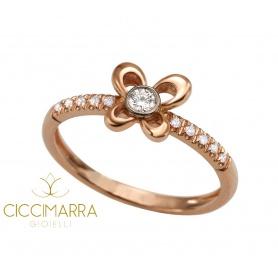 Anello Mimì Y-ME a farfalla in oro rosa con diamanti