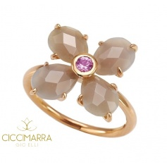 Mimì Bloom flower ring in gold with gray Agate and pink Sapphire