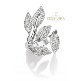 Mimì Foglia ring, with gold leaves and natural diamonds AX1003B8B