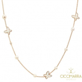 Mimì FreeVola necklace in rose gold, pearls, mother of pearl and diamond